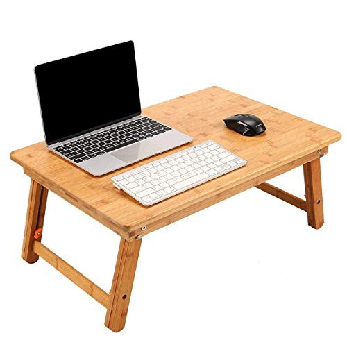 ノートパソコンデスク 竹製 ベッドテーブル ローテーブル 折りたたみ式 高さ調節可能 多機能 トレーテーブル ナチュラル シンプル