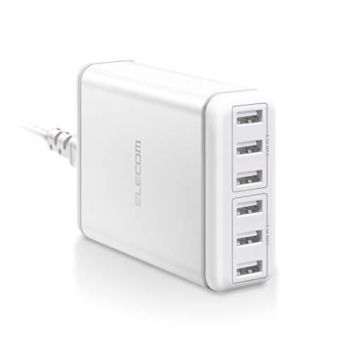 エレコム USB 充電器 ACアダプター コンセント 急速充電器 [ 60W / USB-A×6 ] 電源ケーブル PSE認証済