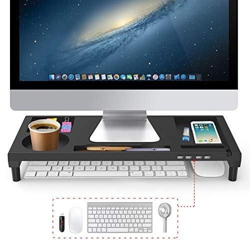 モニター台 VOOPII 机上台 パソコン台 モニタースタンド 4 パソコンスタンド USBポート 収納力抜群 便利 日本産 安い 激安 プチプラ 高品質 ブラック