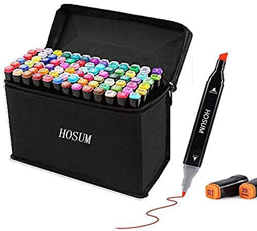 hosum イラストマーカー おトク ストアー 80色 セット 水彩ペン 2種類のペン先 細字コミック用 塗り絵 太字 描画 落書き 学習用の