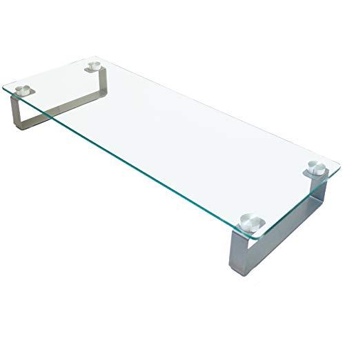 モニター台 モニタースタンド 正規品送料無料 強化ガラス製 情熱セール クリア ブラック 机上台 卓上 ガラス モニターテーブル テーブル