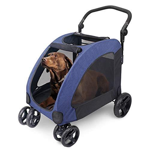 ペットカート 犬用 キャリーカート ペットバギー 折りたたみ式 多頭中小型犬 ドッグカート-ブルー 307 年間定番 国際ブランド 猫用 大型犬
