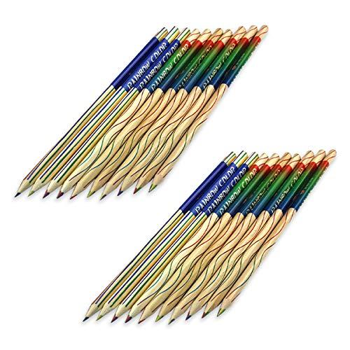 HAMILO カラフル色鉛筆 レインボー色鉛筆 虹色 4色芯 20本セット 色鉛筆 多色鉛筆 割引 買い取り