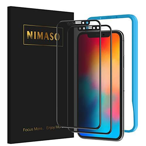 覗き見防止2枚セット Nimaso iPhone11 マーケット 上品 Pro Xs X 液晶強化ガラス 用 全面保護フィルム 5.8インチ