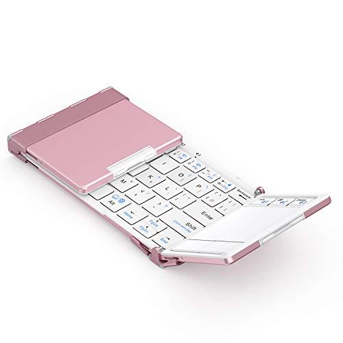 無料サンプルOK iClever Bluetooth5.1 爆安 キーボード �り畳み スタンド 3つデバイス同時切替可能 タッチパッド usb