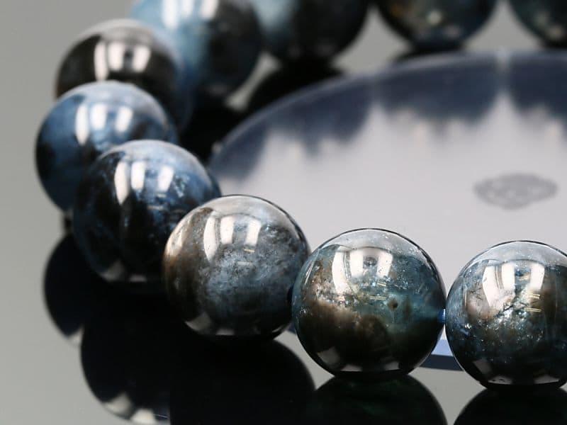 最高級 【プレミアム】 ブラックスター アクアマリン ブレスレット 13mm玉 No.11 (鑑別書付) パワーストーン 天然石 フォレストブルー【画像現物】