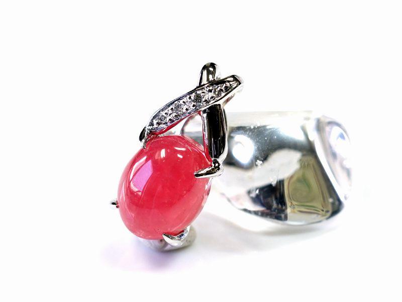 インカローズ ペンダントトップ (プラチナpt900・ダイヤモンド) No.4 パワーストーン 天然石 フォレストブルー