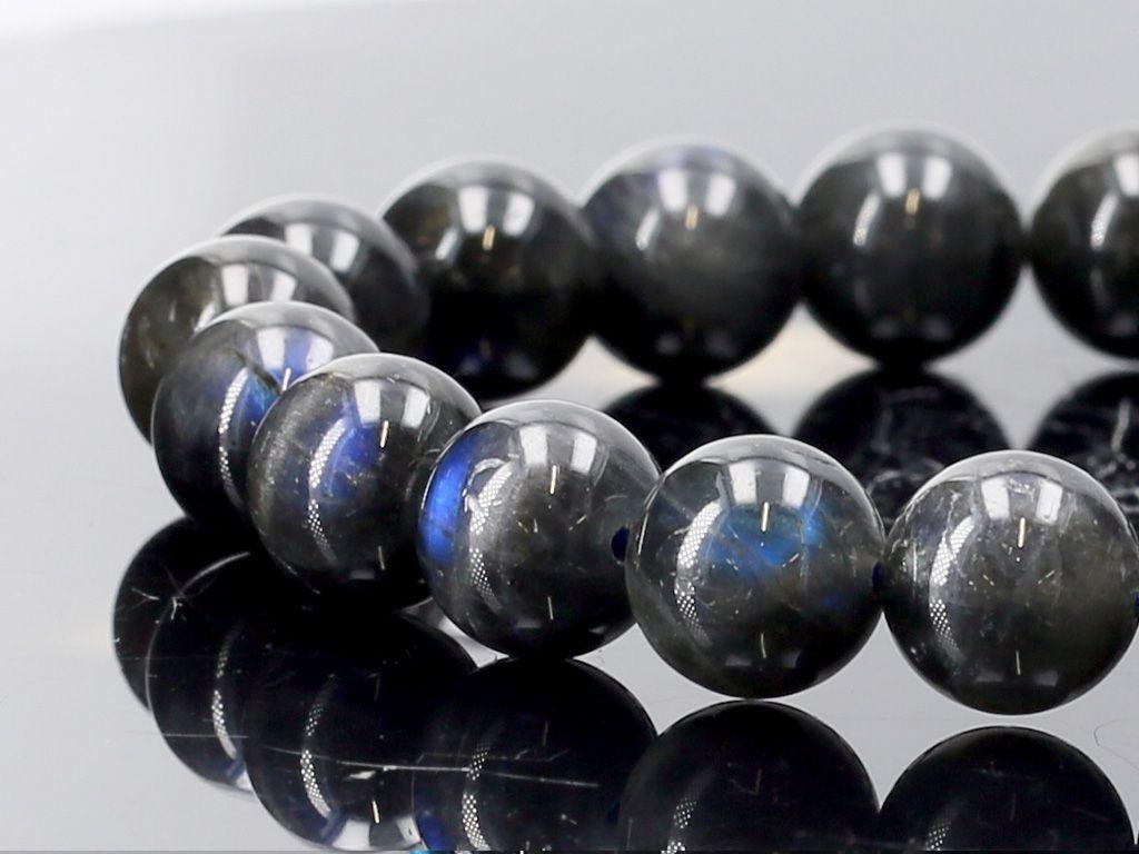 【10倍!】ブラックラブラドライト ブレスレット 6mm玉 No.3 パワーストーン 天然石 フォレストブルー