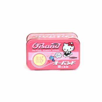 かわいい缶入りのピンク輪ゴム。キティー缶 サンリオ オーバンド ハローキティ缶 30g 共和 輪ゴム ゴムバンド シリコンゴム ピンク 業務用