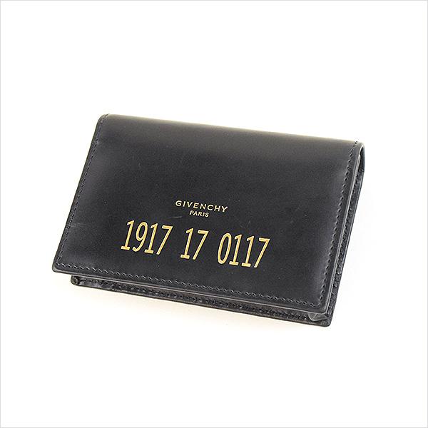 32b37a54e707 【中古】GIVENCHY ジバンシィ 16SS ナンバープリントレザーカードケース ブランド ブラック