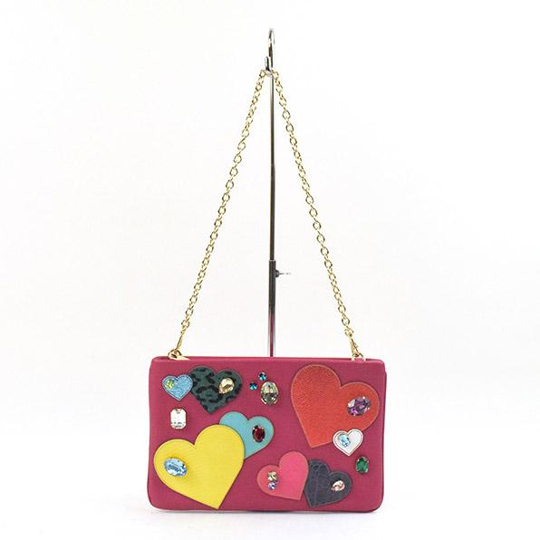 【中古】DOLCE&GABBANA ドルチェ&ガッバーナ 16SS ハートビジューパッチレザーチェーンバッグ ブランド ピンク