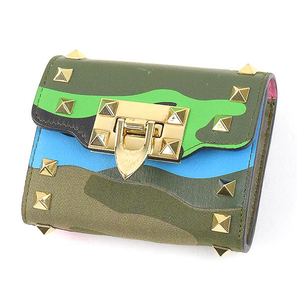 【中古】VALENTINO ヴァレンティノ Rockstud purse スタッズ装飾カモ柄デザインレザーウォレット 折りたたみ財布 ブランド カーキ