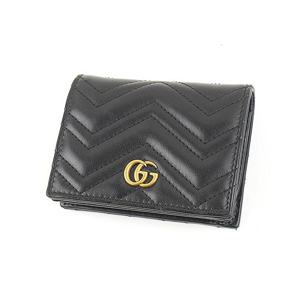 【中古】GUCCI グッチ GGマーモントレザー レザーウォレット 財布 ブランド ブラック