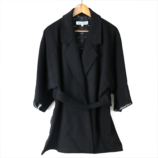 KENZO ケンゾー オーバーサイズデザインコート ブラック 36【中古】