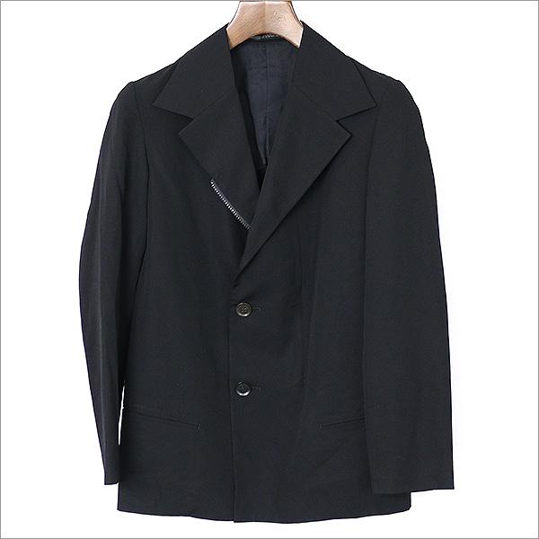 Y's ワイズ 13AW ウールギャバジンワンサイドジップダブルブレストジャケット ブラック 2【中古】