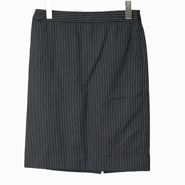 SAINT LAURENT PARIS サンローラン パリ ストライプタイトスカート ブラック 34【中古】