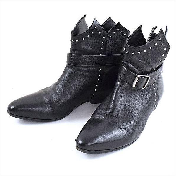 SAINT LAURENT PARIS サンローラン パリ Buckled Ankle Boots スタッズ装飾ベルテッドアンクルブーツ ブラック 37(24cm程度)【中古】