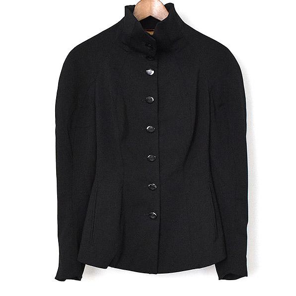 Vivienne Westwood RED LABEL ヴィヴィアンウエストウッドレッドレーベル オーブボタンハイネックウールジャケット ブラック 38【中古】