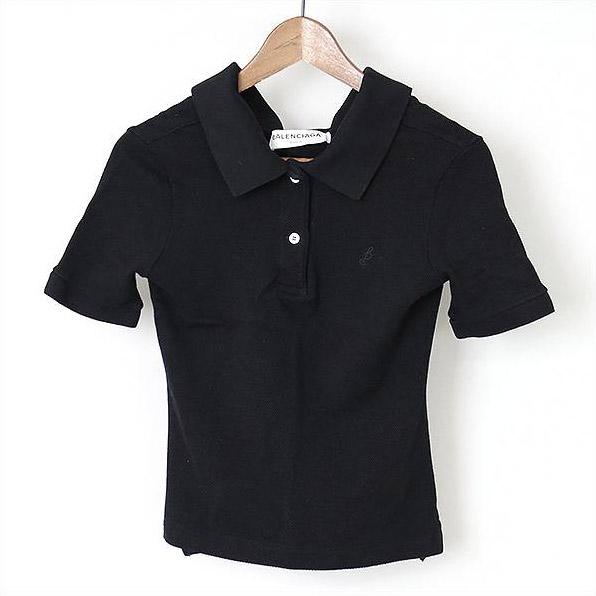BALENCIAGA バレンシアガ 17ss ポロシャツ ブラック S【中古】