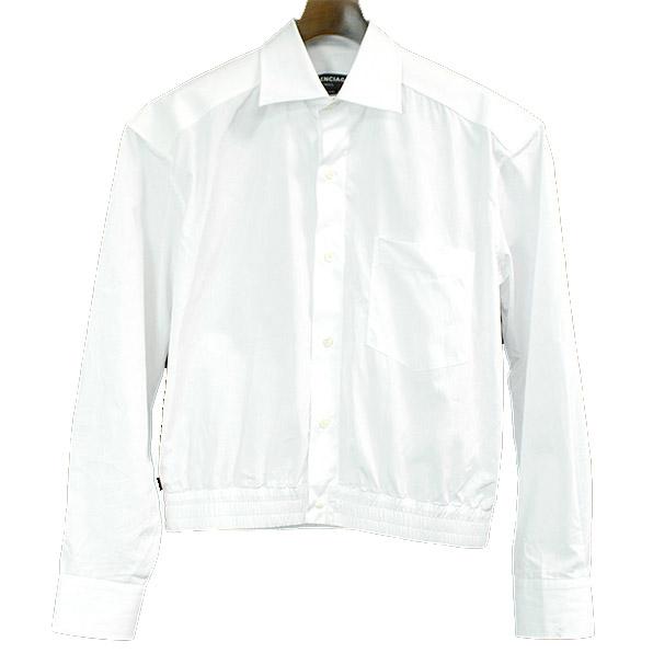 【中古】BALENCIAGA バレンシアガ 17SS クロップドシャツ レディース ホワイト 40