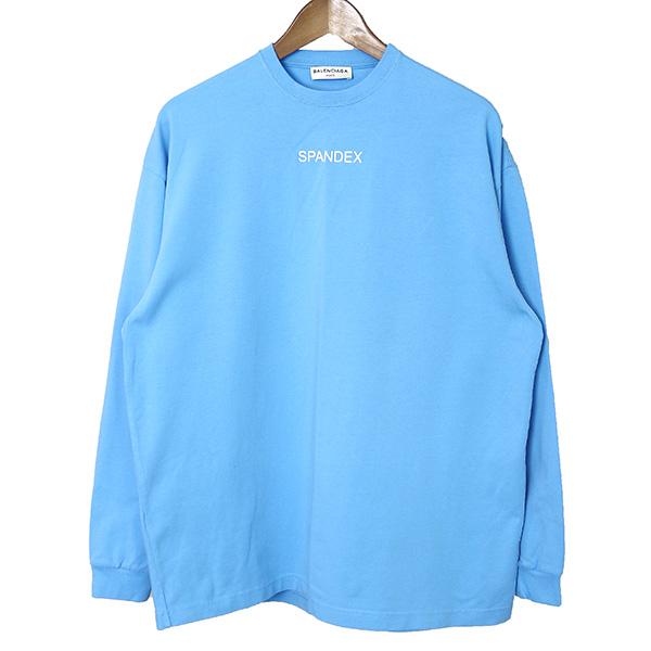 【中古】BALENCIAGA バレンシアガ 17SS SPANDEX ストレッチロングスリーブTシャツ レディース サックス S