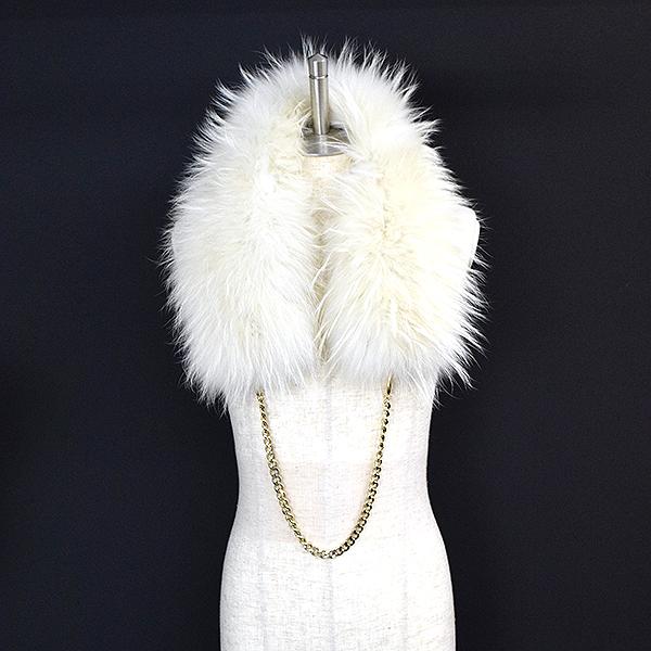 【中古】Blugirl ブルーガール チェーン装飾ラクーンファーマフラー レディース ホワイト