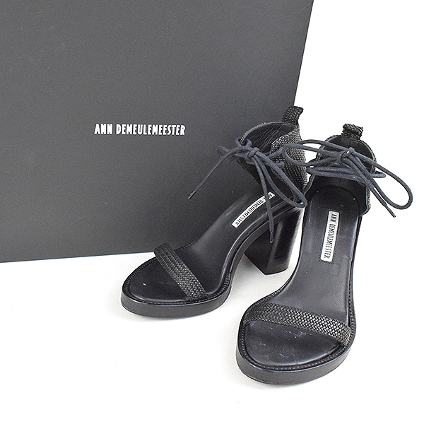 d6ee4830d1cc ANN DEMEULEMEESTER undoing Murr female tail heel sandals Lady s black 35  (around 22cm)