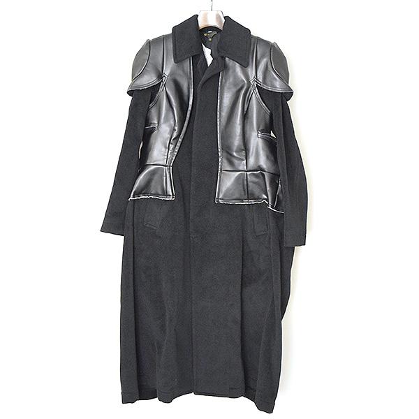 【中古】COMME des GARCONS コムデギャルソン 17AW フェイクレザードッキングウールコート レディース ブラック XS
