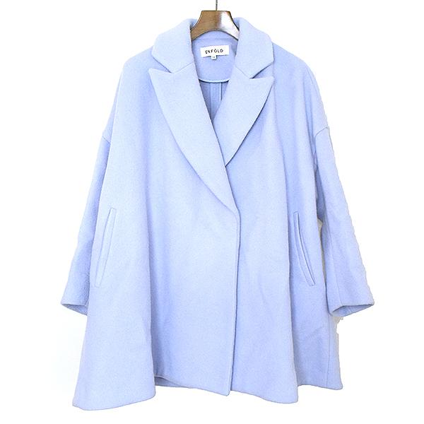 【中古】ENFOLD エンフォルド 14AW ショートビーバーAラインコート レディース ブルー 36