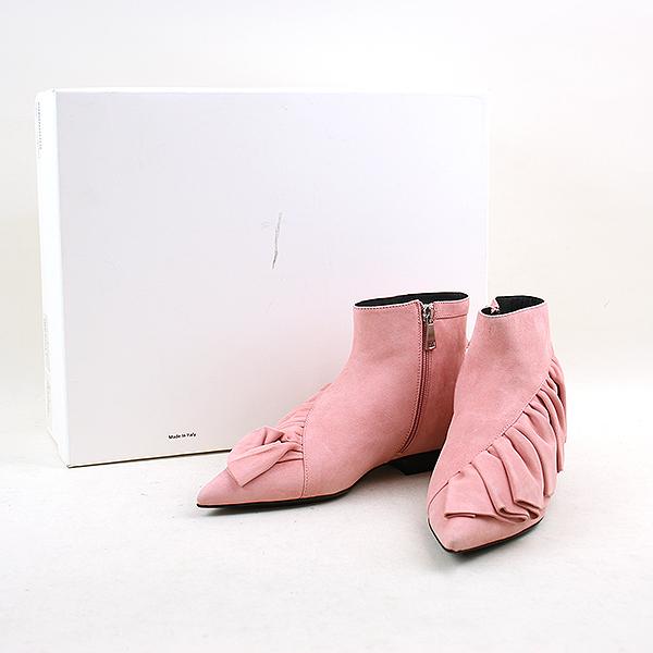 【中古】J.W.ANDERSON ジェイダブリューアンダーソン FLAT ANKLE BOOTS フリルデザインブーツ レディース ピンク 37(23.5cm程度)