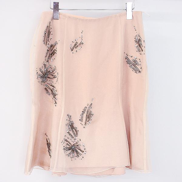 【中古】PHILOSOPHY フィロソフィー ビーズ装飾フレアシルクスカート ピンク 42 レディース