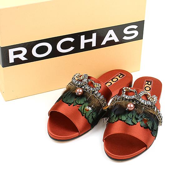【中古】ROCHAS ロシャス ビジュー装飾サテンスリッパ レッド 37(23.5cm程度) レディース
