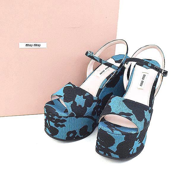 【中古】miu miu ミュウミュウ Calzature Donna Open Toe Canvas Wedge Sandal オープントゥキャンバスウェッジサンダル レディース ブルー 36(22.5~23cm程度)