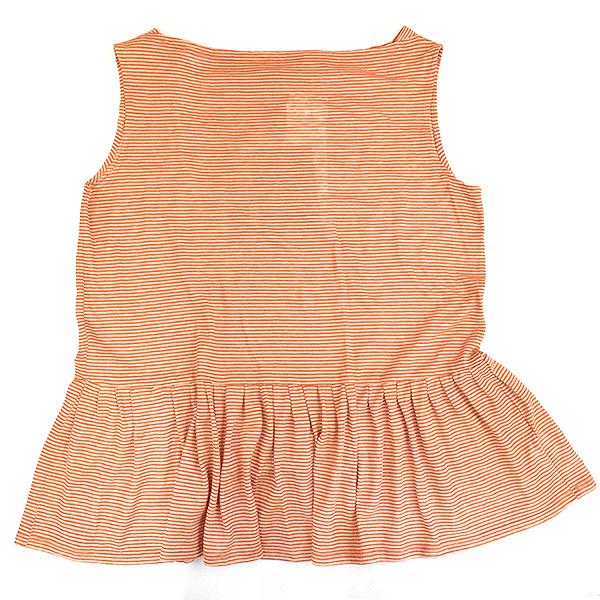 【中古】THE ROW ザ ロウ ボーダーフレアノースリーブTシャツ オレンジ XS レディース
