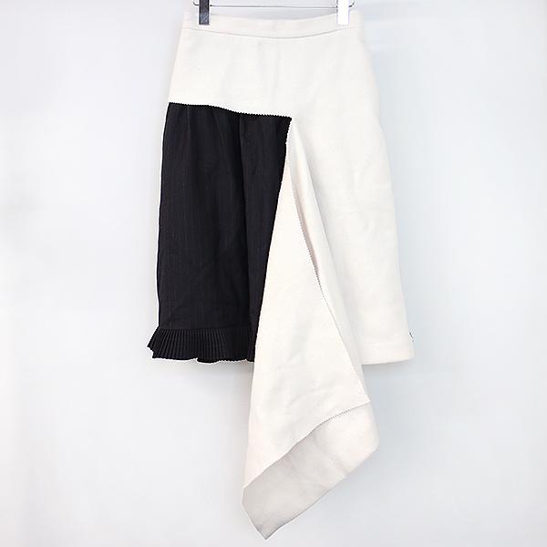 【中古】FACETASM ファセッタズム 17AW レイヤードデザインウールスカート レディース ブラック×ペールピンク 1
