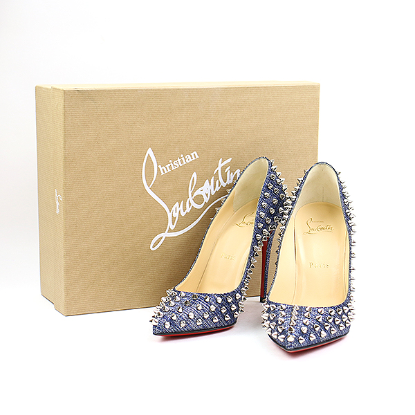 wholesale dealer 60602 f05f3 Christian Louboutin クリスチャンルブタン 18SS FOLLIES SPIKES LAME LUX spikes studs  metallic pumps blue 37.5 (24.5cm) Lady's