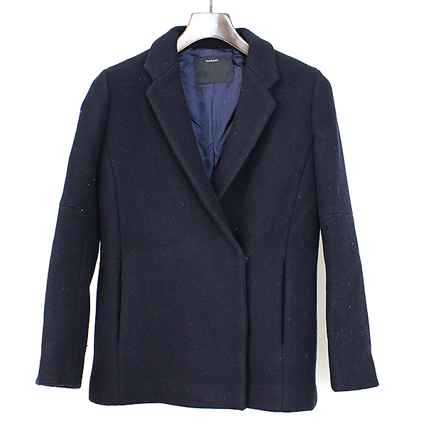 【中古】FLORENT フローレント メルトンウールショートジャケット ネイビー レディース