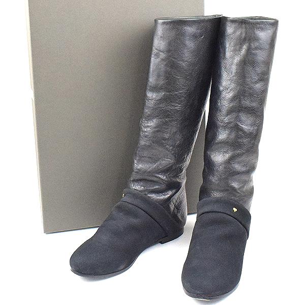 【中古】mina perhonen ミナペルホネン レザーロングブーツ ブラック 23.5cm レディース