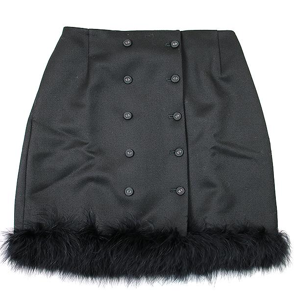 【中古】THOM BROWNE トムブラウン マラブーフェザー装飾スカート ブラック 38 レディース
