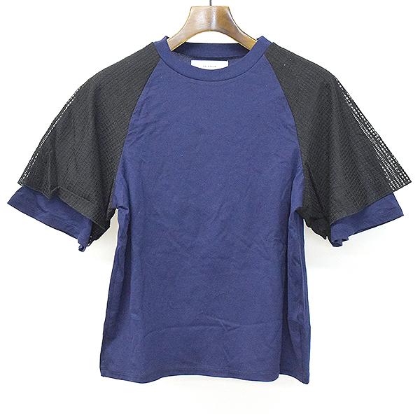 【中古】FACETASM ファセッタズム 17SS GATHERD TEE ギャザースリーブクルーネックTシャツ ネイビー 2 レディース