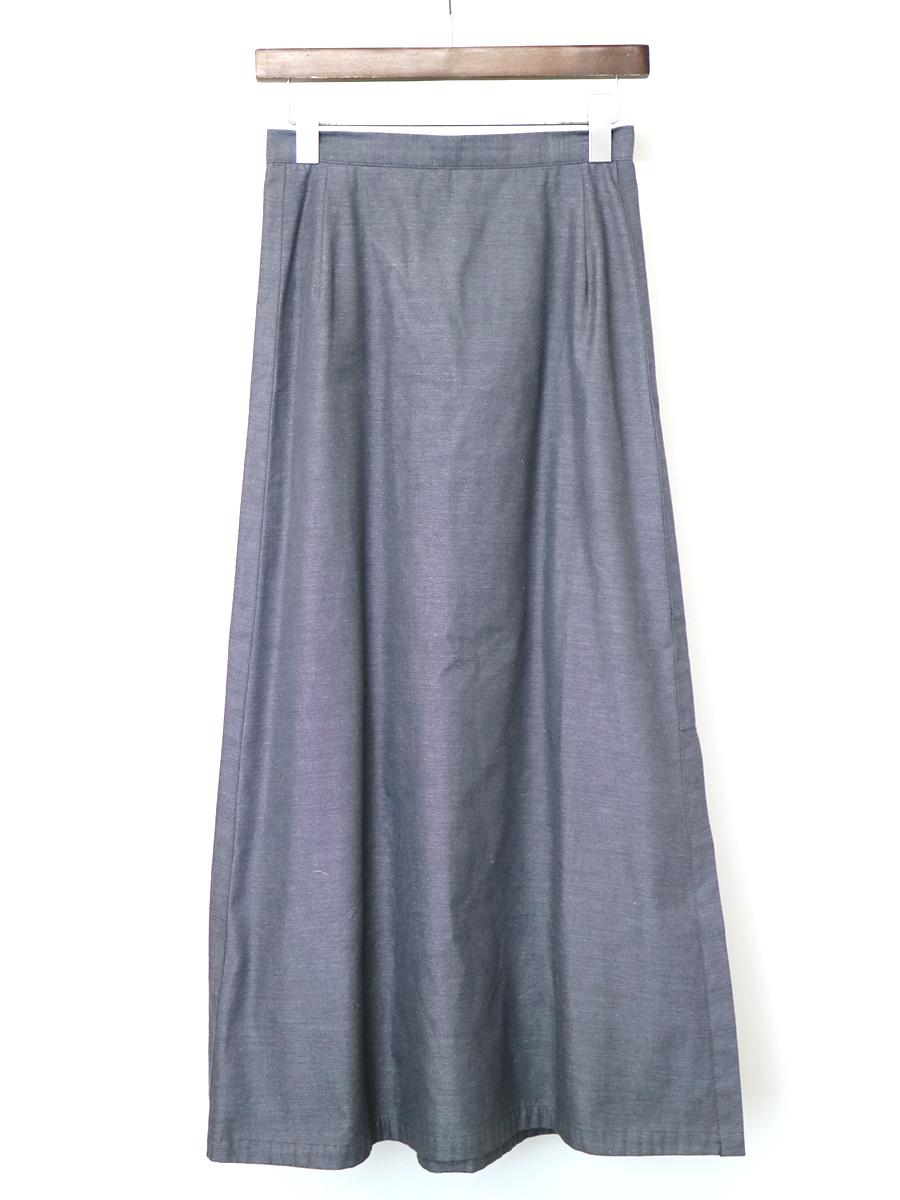 【中古】Y's ワイズ コットンポリエステルサイドスリットロングスカート グレー 3 レディース
