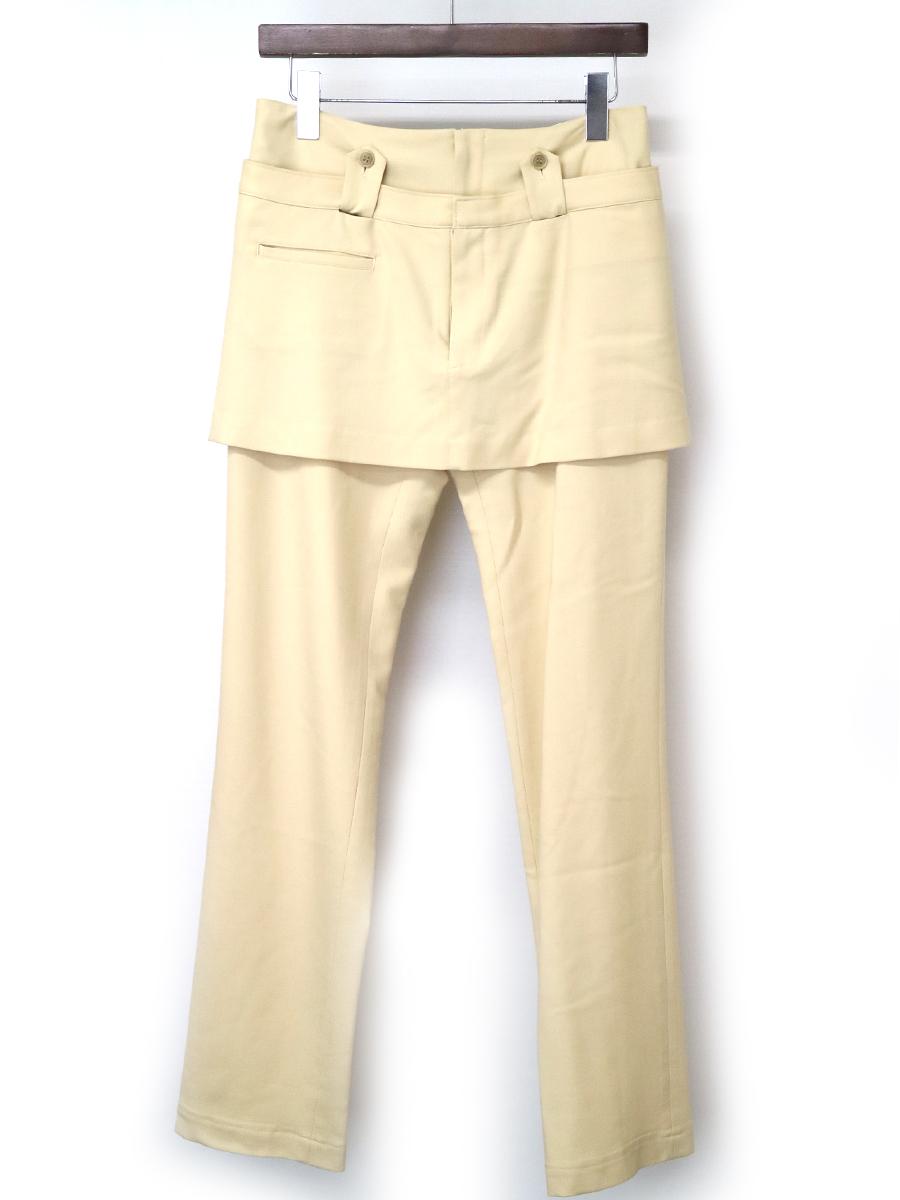 【中古】Y's ワイズ スカートドッキングデザインスリムパンツ ベージュ 2 レディース