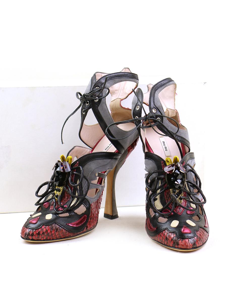 【中古】miu miu ミュウミュウ 装飾クロコレザーヒールパンプス レッド 39(25.5cm程度) レディース