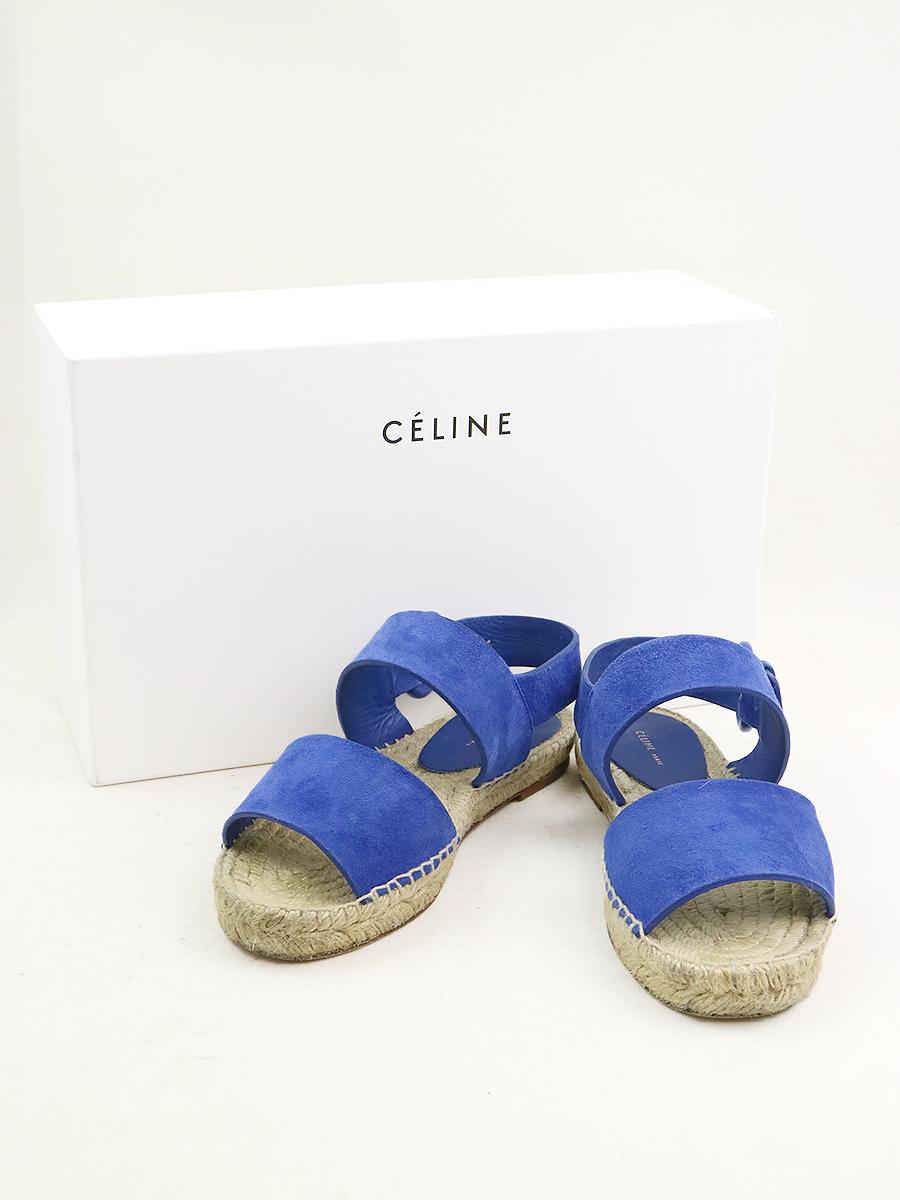 【中古】CELINE セリーヌ エスパドリーユスウェードレザーストラップサンダル ブルー 34(22cm程度) レディース