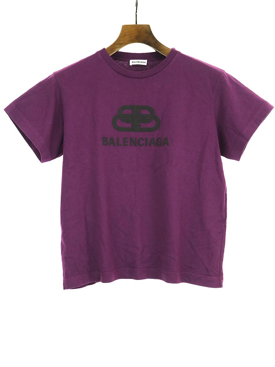 【中古】BALENCIAGA バレンシアガ Bb ロゴTシャツ パープル S レディース