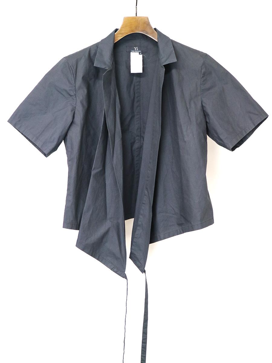 【中古】Y's ワイズ ヘムリボンショートスリーブシャツ ブラック 3 レディース