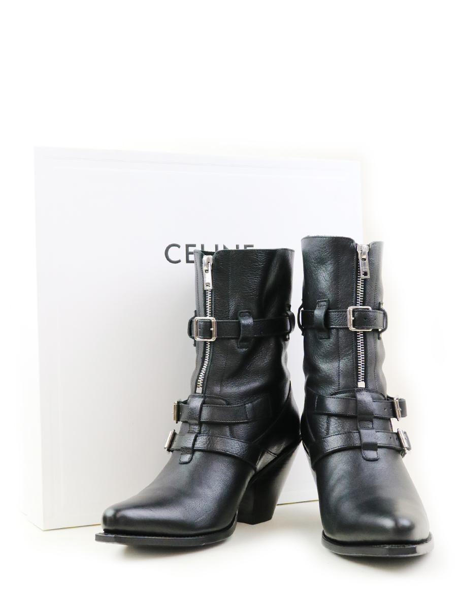 【中古】CELINE セリーヌ 19SS ベルリンブーツ ブラック 39 26cm レディース