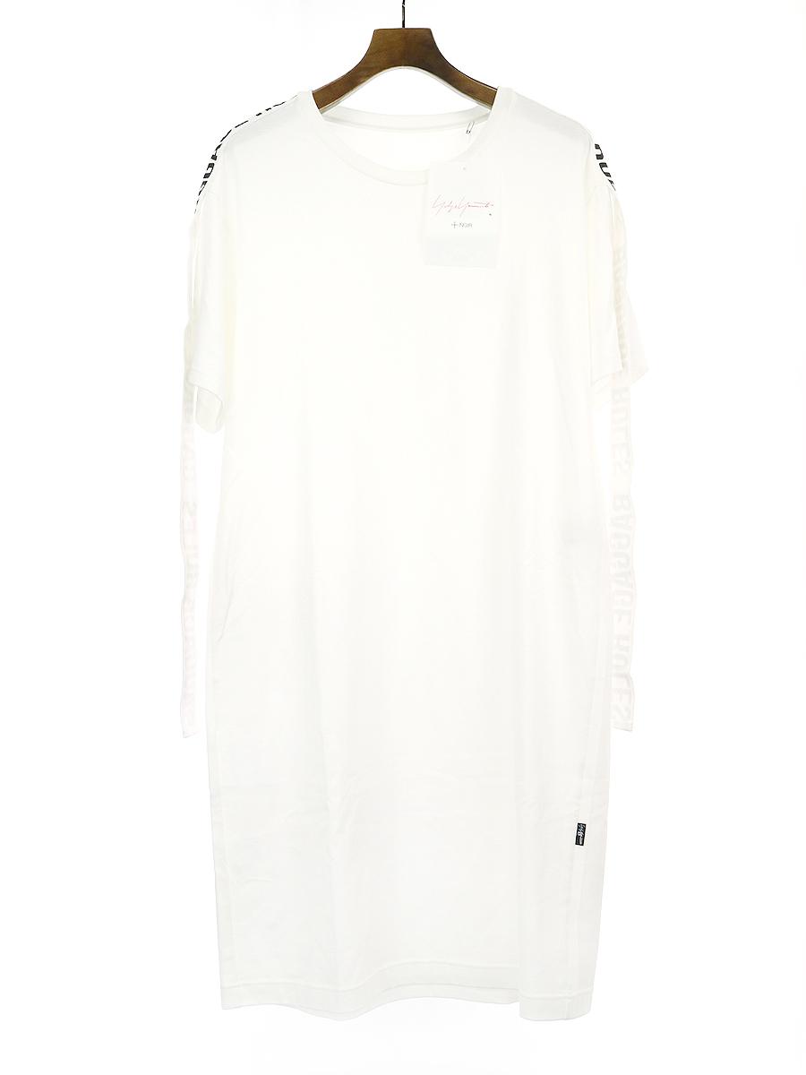 【中古】B Yohji Yamamoto ビー ヨウジヤマモト 19SS BAGGAGE RULES プリントテープロングTシャツ ホワイト 2 レディース