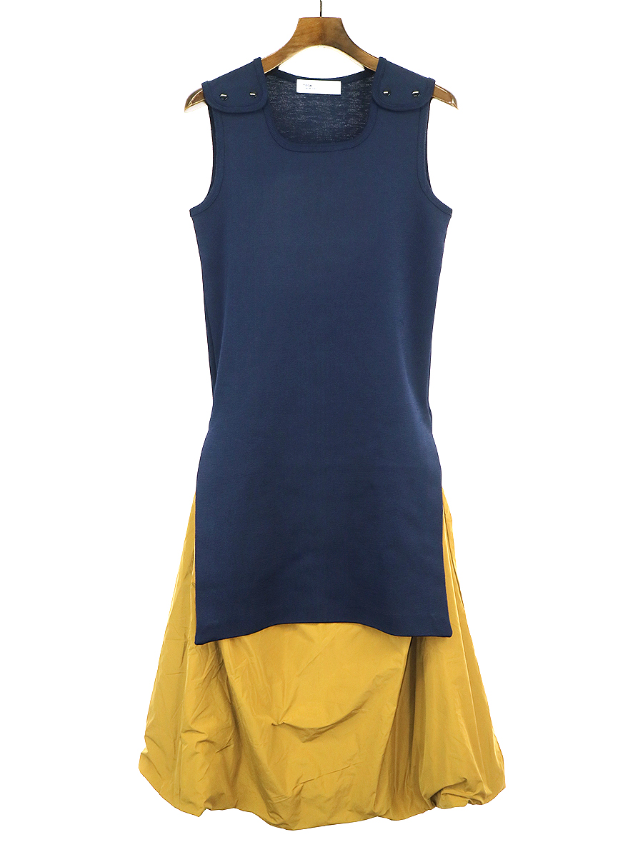 【中古】TOGA ARCHIVES トーガ アーカイブス 19AW Rib jersey dress ドッキングデザインワンピース ネイビー 38 レディース