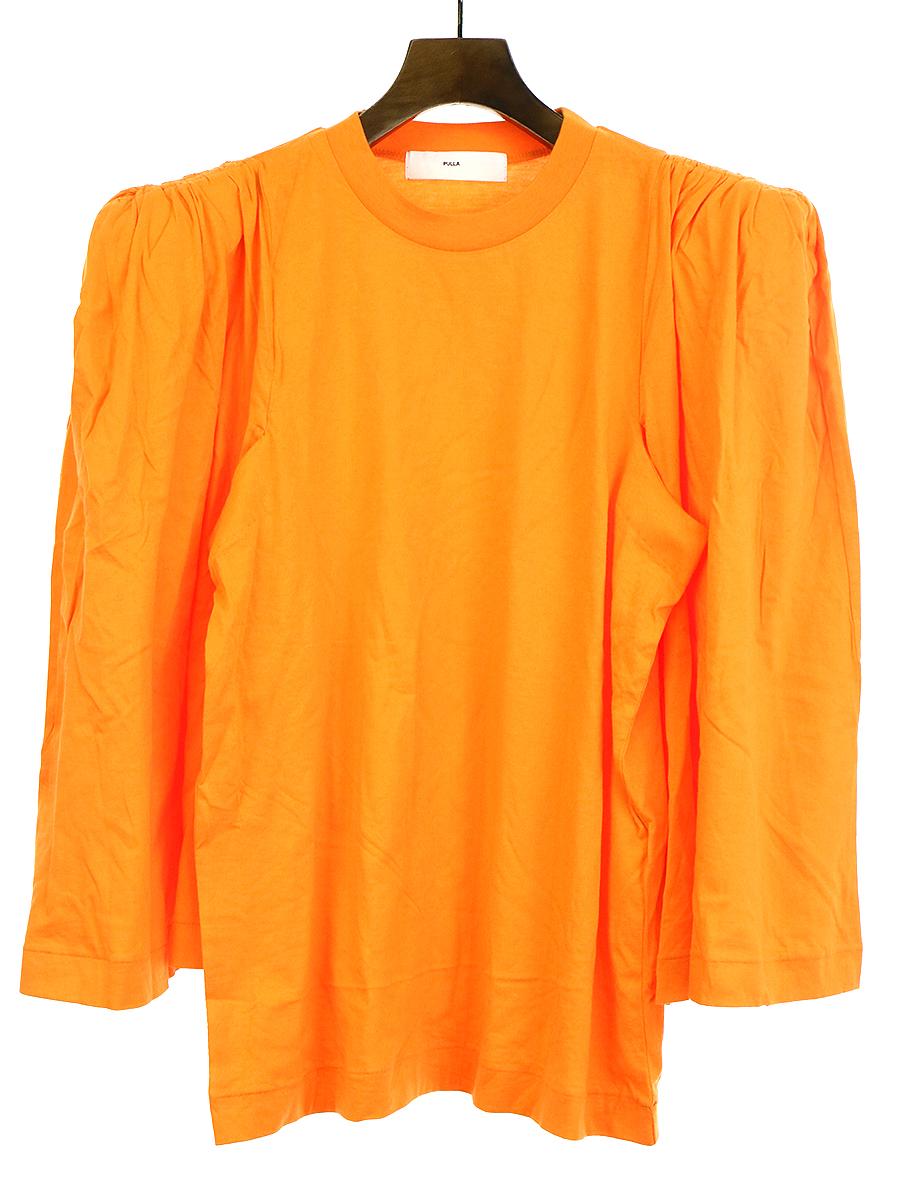 【中古】TOGA PULLA トーガ プルラ 19AW Silket jersey gathered sleeves シルケットジャージーギャザードスリーブトップス オレンジ 38 レディース